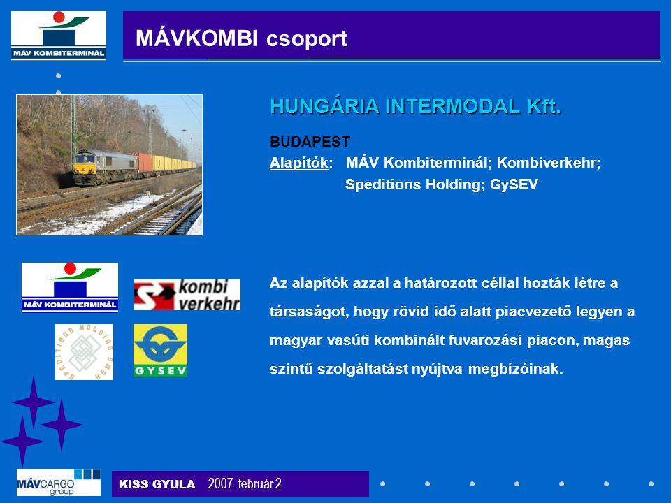 KISS GYULA 2007. február 2. Az alapítók azzal a határozott céllal hozták létre a társaságot, hogy rövid idő alatt piacvezető legyen a magyar vasúti ko