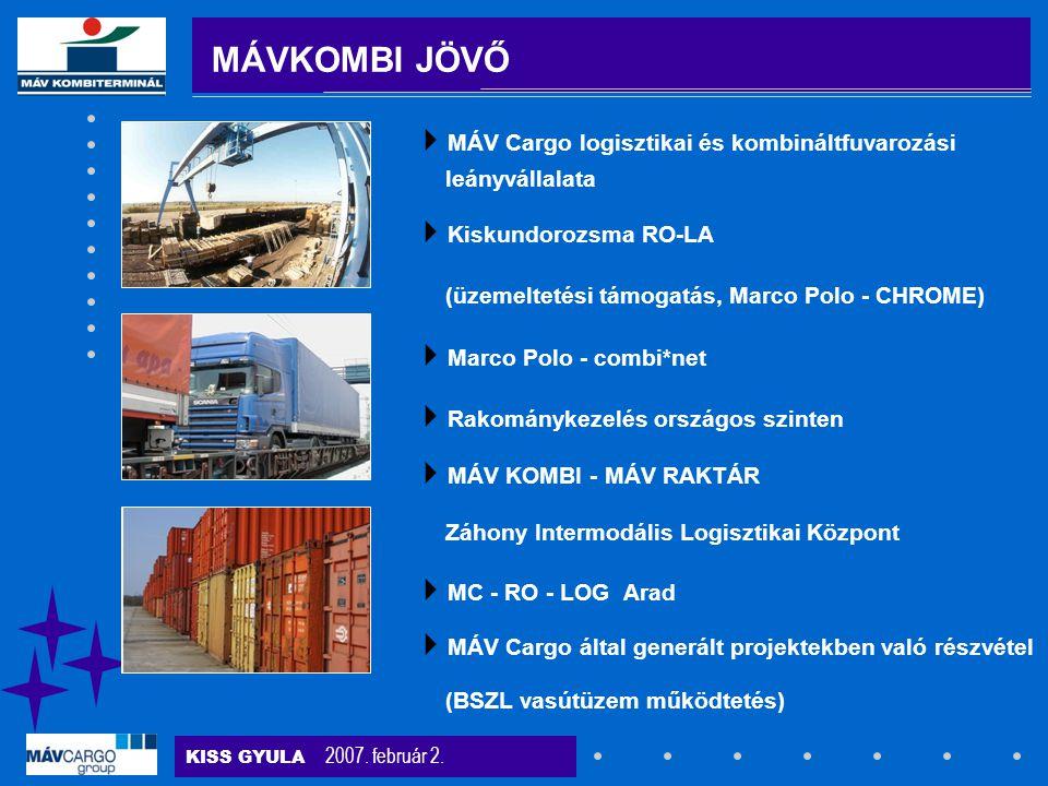 KISS GYULA 2007. február 2. MÁVKOMBI JÖVŐ  MÁV Cargo logisztikai és kombináltfuvarozási leányvállalata  Kiskundorozsma RO-LA (üzemeltetési támogatás