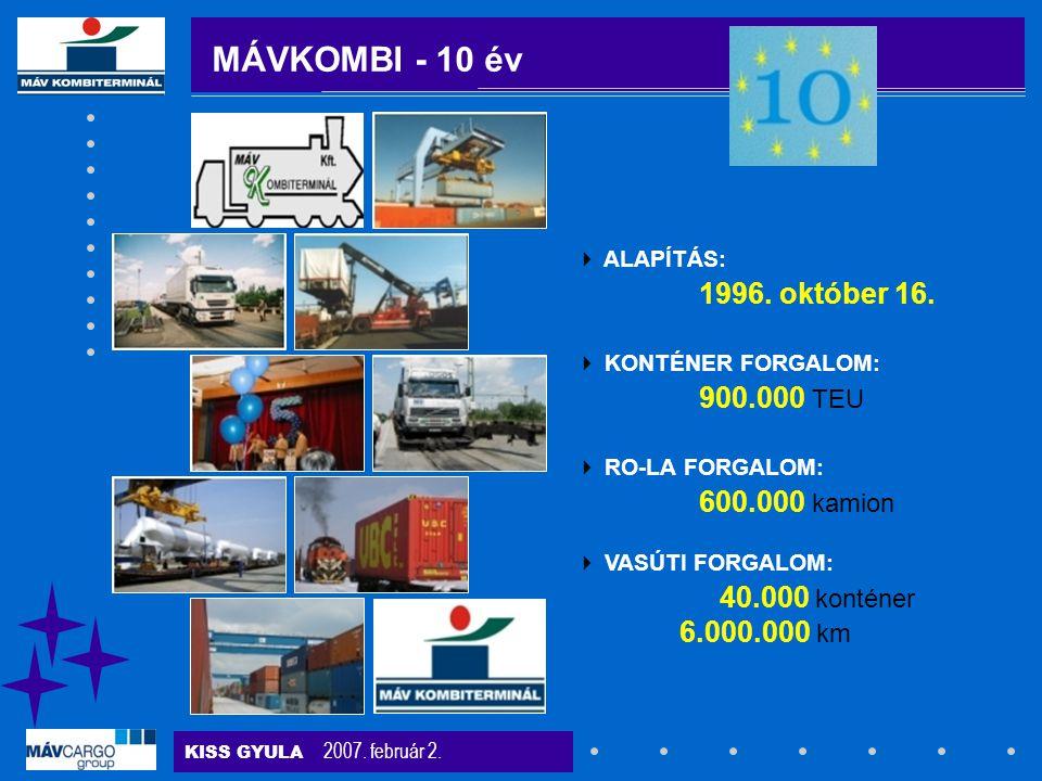 KISS GYULA 2007. február 2. MÁVKOMBI - 10 év  ALAPÍTÁS: 1996. október 16.  KONTÉNER FORGALOM: 900.000 TEU  RO-LA FORGALOM: 600.000 kamion  VASÚTI