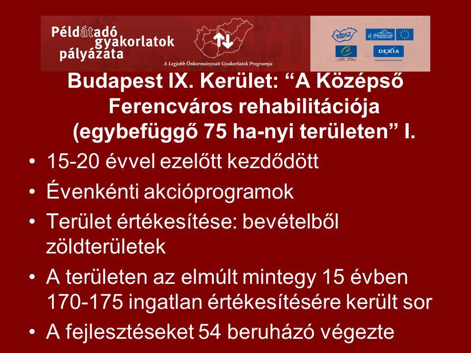 """Budapest IX. Kerület: """"A Középső Ferencváros rehabilitációja (egybefüggő 75 ha-nyi területen"""" I. •15-20 évvel ezelőtt kezdődött •Évenkénti akcióprogra"""