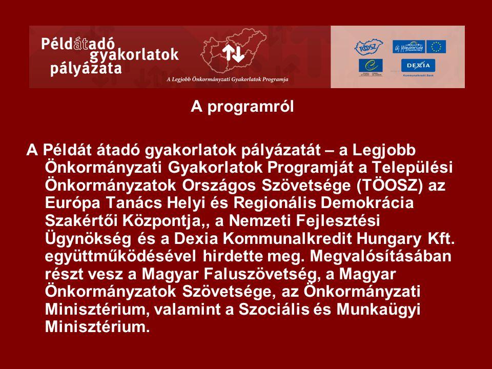 Három pályázati téma 2008-ban: •Lakóhelyhez való kötődés erősítése •Roma integráció a társadalmi kohézió erősítésére •Befektetők vonzása a helyi gazdasági környezet fejlesztésére