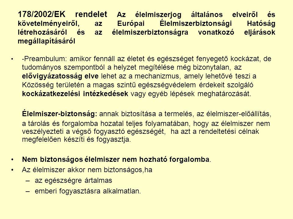 178/2002/EK rendelet Az élelmiszerjog általános elveiről és követelményeiről, az Európai Élelmiszerbiztonsági Hatóság létrehozásáról és az élelmiszerb