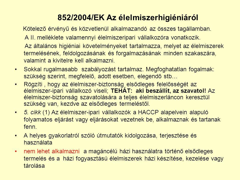 852/2004/EK Az élelmiszerhigiéniáról Kötelező érvényű és közvetlenül alkalmazandó az összes tagállamban. A II. melléklete valamennyi élelmiszeripari v