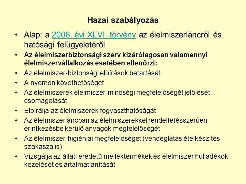 Hazai szabályozás •Alap: a 2008. évi XLVI. törvény az élelmiszerláncról és hatósági felügyeletéről2008. évi XLVI. törvény •Az élelmiszerbiztonsági sze