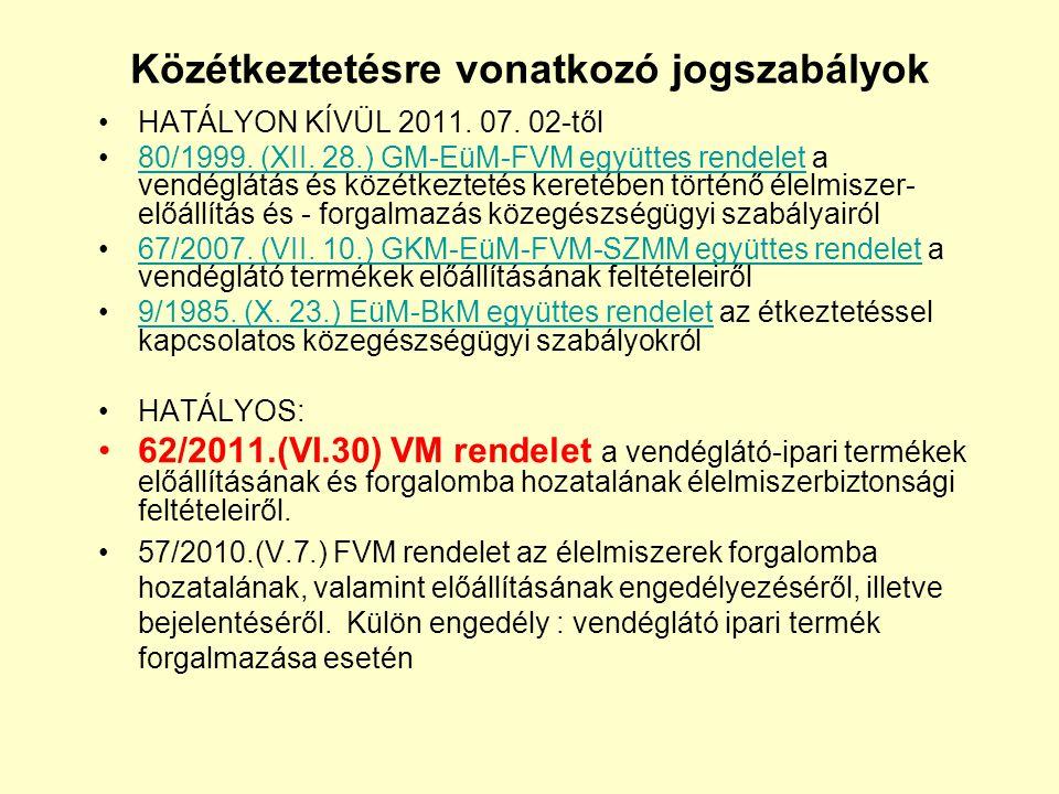 Közétkeztetésre vonatkozó jogszabályok •HATÁLYON KÍVÜL 2011. 07. 02-től •80/1999. (XII. 28.) GM-EüM-FVM együttes rendelet a vendéglátás és közétkeztet
