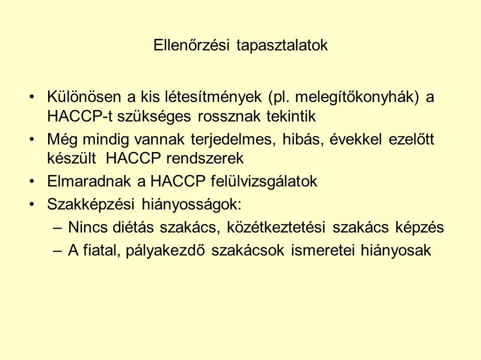 Ellenőrzési tapasztalatok •Különösen a kis létesítmények (pl. melegítőkonyhák) a HACCP-t szükséges rossznak tekintik •Még mindig vannak terjedelmes, h