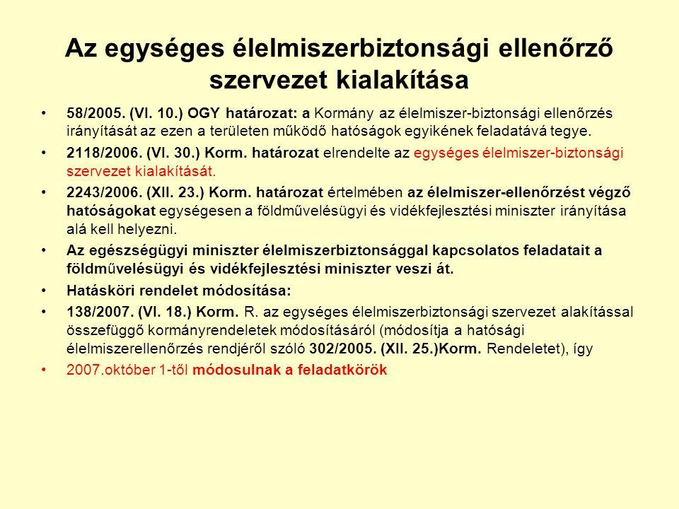Az egységes élelmiszerbiztonsági ellenőrző szervezet kialakítása •58/2005. (VI. 10.) OGY határozat: a Kormány az élelmiszer-biztonsági ellenőrzés irán