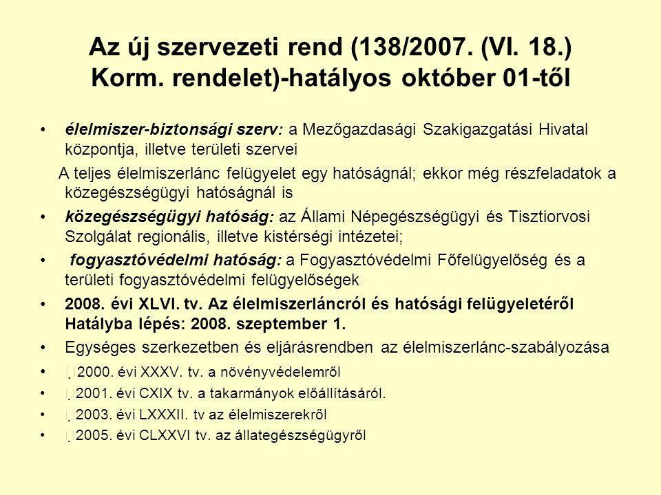 Az új szervezeti rend (138/2007. (VI. 18.) Korm. rendelet)-hatályos október 01-től •élelmiszer-biztonsági szerv: a Mezőgazdasági Szakigazgatási Hivata