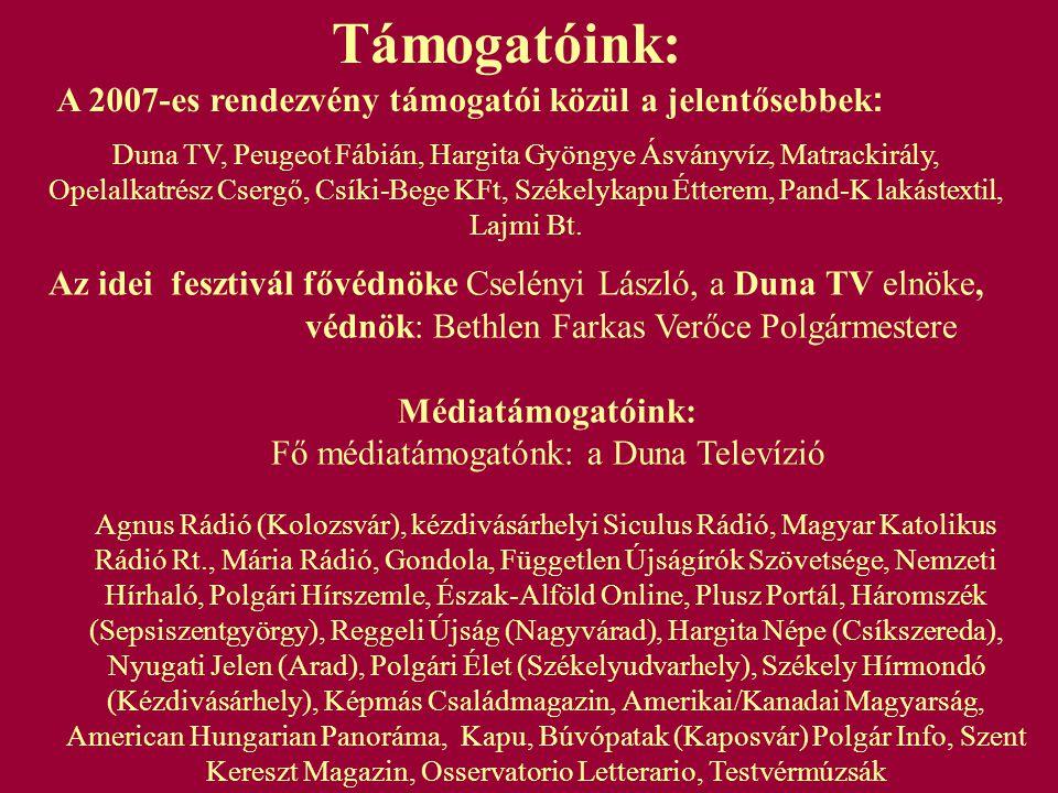 Fesztiváltámogatók megjelenítése: KIEMELT TÁMOGATÓK (500.000,- Forintot meghaladó támogatás esetén) Honlapon Plakáton – 500 db – (Magyarország 50 településén helyezzük ki) A fesztiválról készülő filmben Meghívókon –50.000 db – (Magyarországon osztjuk szét) Díszvendégek meghívóján Tiszteletbeli meghívókon Bemutató területen (a támogató, illetve termékeinek bemutatására kialakított területen) Vállalkozói területen (szórólap, ismeretterjesztő kihelyezése) Támogatói molinón A fesztivált beharangozó sajtótájékoztatón Hangosbemondón (a fesztivál ideje alatt naponta háromszor bemondva) Nevesített támogatási lehetőség: Ördögborda táncegyüttes; Kormorán koncert; Hang-és fénytechnika; Színpadsátor bérlés