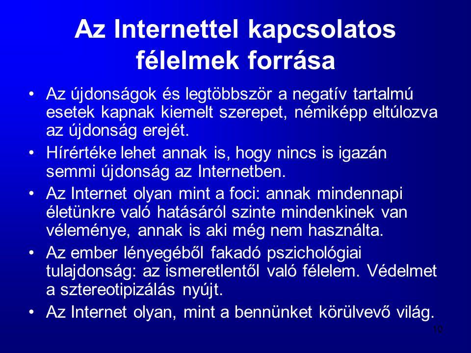 10 Az Internettel kapcsolatos félelmek forrása •Az újdonságok és legtöbbször a negatív tartalmú esetek kapnak kiemelt szerepet, némiképp eltúlozva az