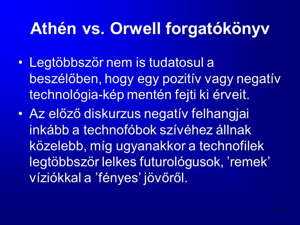25 Athén vs. Orwell forgatókönyv •Legtöbbször nem is tudatosul a beszélőben, hogy egy pozitív vagy negatív technológia-kép mentén fejti ki érveit. •Az