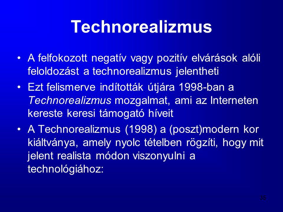 35 Technorealizmus •A felfokozott negatív vagy pozitív elvárások alóli feloldozást a technorealizmus jelentheti •Ezt felismerve indították útjára 1998