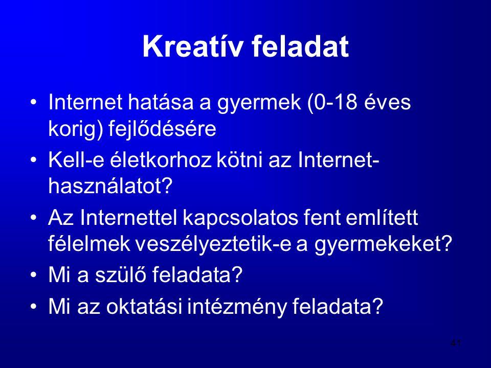41 Kreatív feladat •Internet hatása a gyermek (0-18 éves korig) fejlődésére •Kell-e életkorhoz kötni az Internet- használatot? •Az Internettel kapcsol