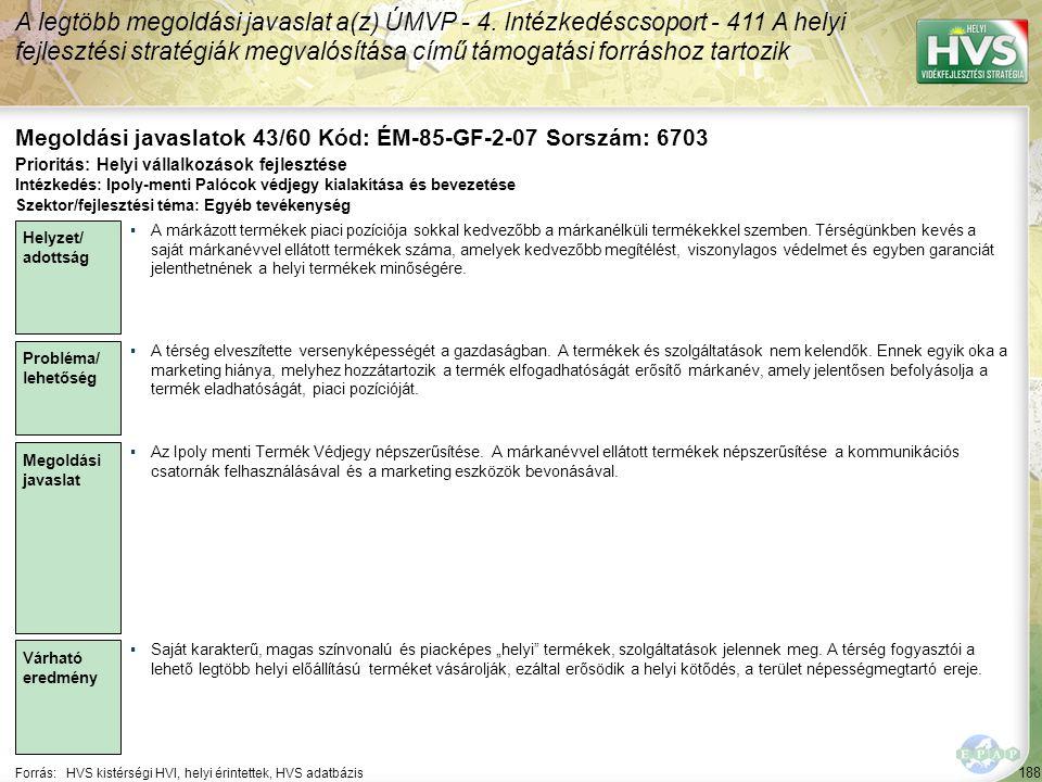 188 Forrás:HVS kistérségi HVI, helyi érintettek, HVS adatbázis Megoldási javaslatok 43/60 Kód: ÉM-85-GF-2-07 Sorszám: 6703 A legtöbb megoldási javasla