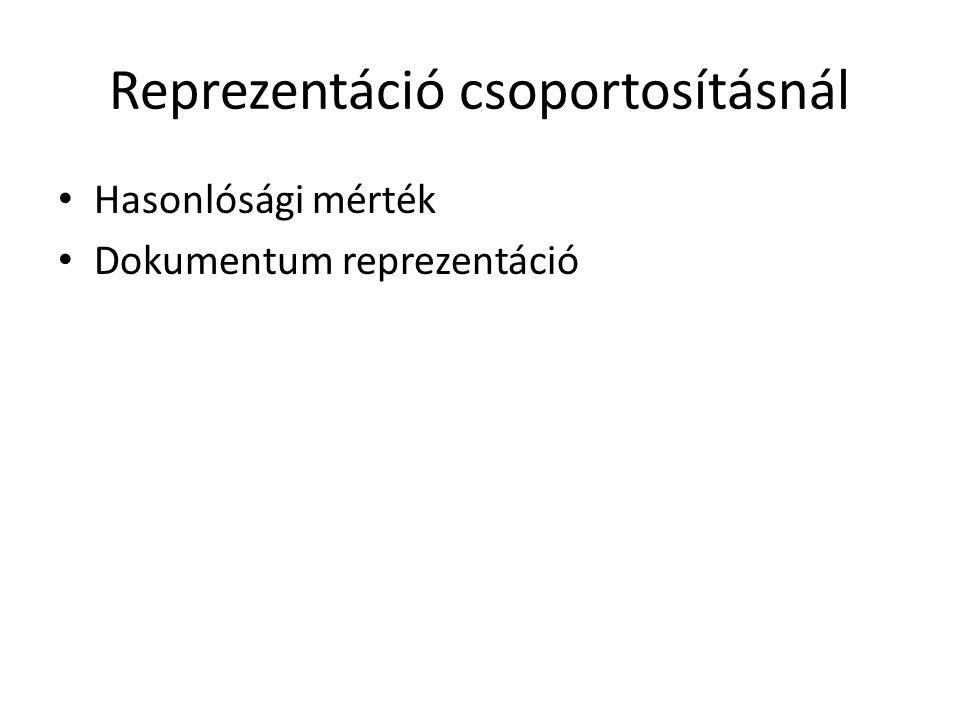 Reprezentáció csoportosításnál • Hasonlósági mérték • Dokumentum reprezentáció