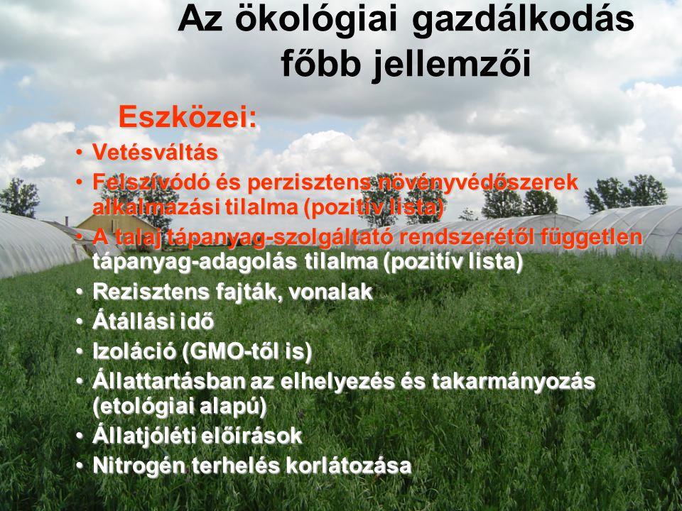 Az ökológiai gazdálkodás főbb jellemzői Eszközei: •Vetésváltás •Felszívódó és perzisztens növényvédőszerek alkalmazási tilalma (pozitív lista) •A tala