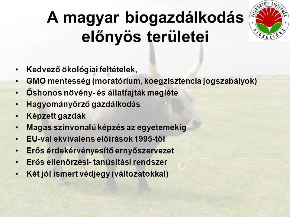 A magyar biogazdálkodás előnyös területei •Kedvező ökológiai feltételek, •GMO mentesség (moratórium, koegzisztencia jogszabályok) •Őshonos növény- és
