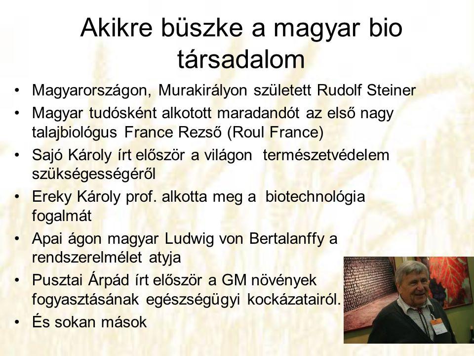 Akikre büszke a magyar bio társadalom •Magyarországon, Murakirályon született Rudolf Steiner •Magyar tudósként alkotott maradandót az első nagy talajb