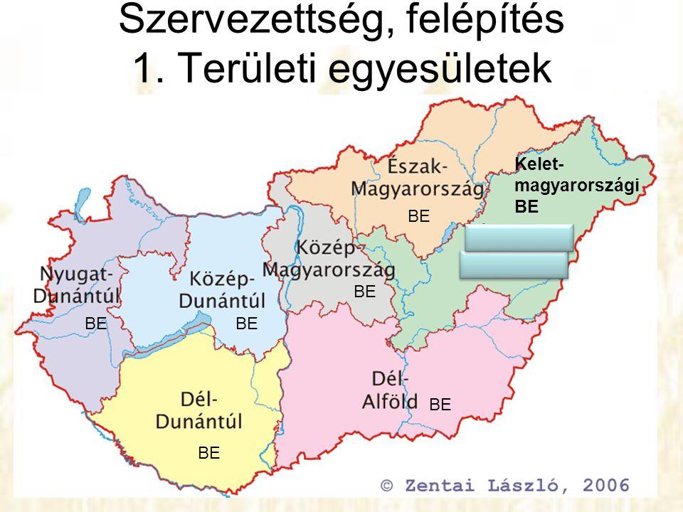 Szervezettség, felépítés 1. Területi egyesületek BE Kelet- magyarországi BE