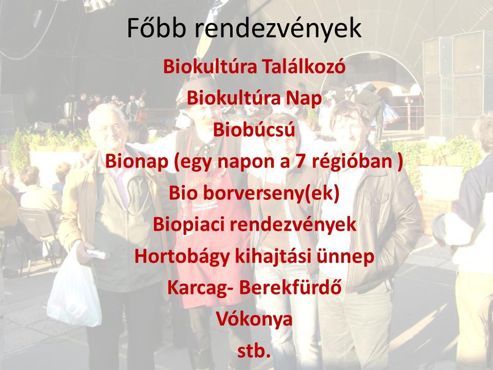 Főbb rendezvények Biokultúra Találkozó Biokultúra Nap Biobúcsú Bionap (egy napon a 7 régióban ) Bio borverseny(ek) Biopiaci rendezvények Hortobágy kih
