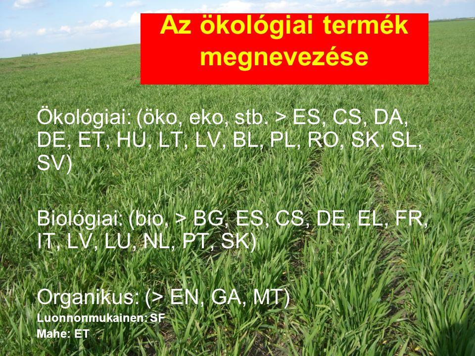 Az ökológiai termék megnevezése Ökológiai: (öko, eko, stb. > ES, CS, DA, DE, ET, HU, LT, LV, BL, PL, RO, SK, SL, SV) Biológiai: (bio, > BG, ES, CS, DE