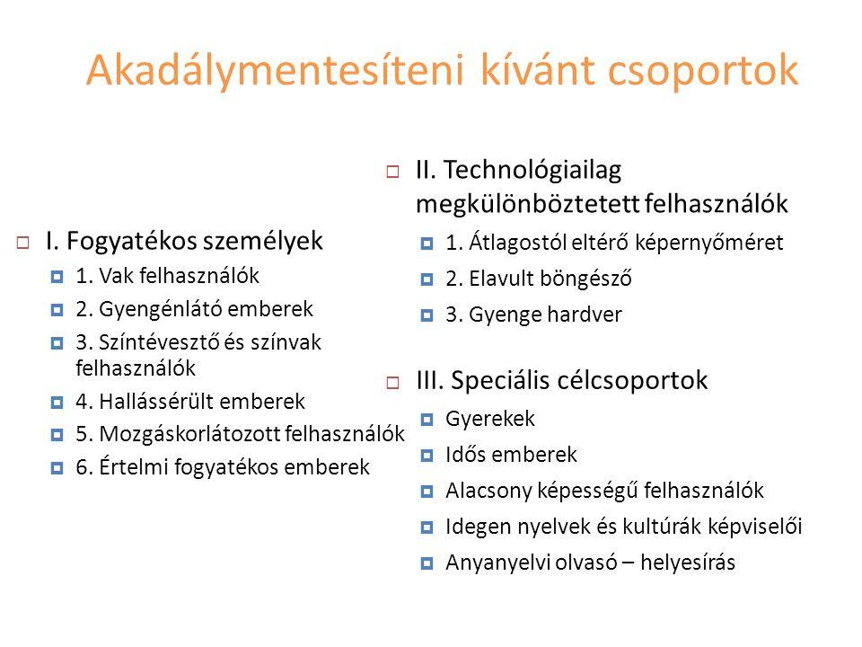 Akadálymentesíteni kívánt csoportok  I. Fogyatékos személyek  1.