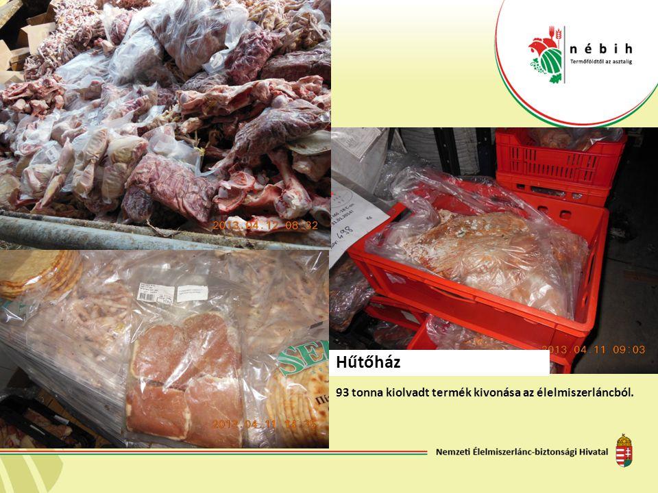 93 tonna kiolvadt termék kivonása az élelmiszerláncból. Hűtőház