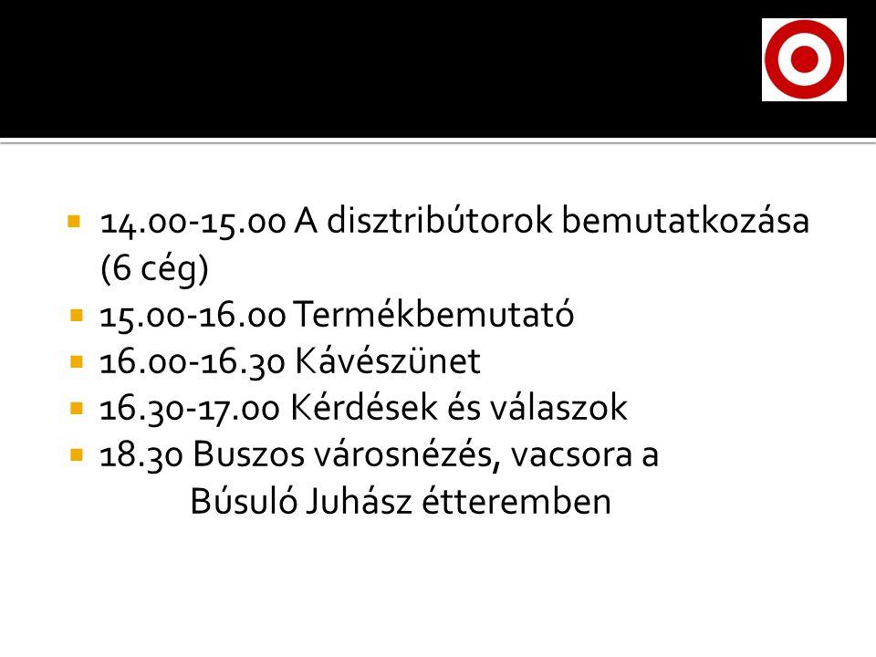  14.00-15.00 A disztribútorok bemutatkozása (6 cég)  15.00-16.00 Termékbemutató  16.00-16.30 Kávészünet  16.30-17.00 Kérdések és válaszok  18.30 Buszos városnézés, vacsora a Búsuló Juhász étteremben