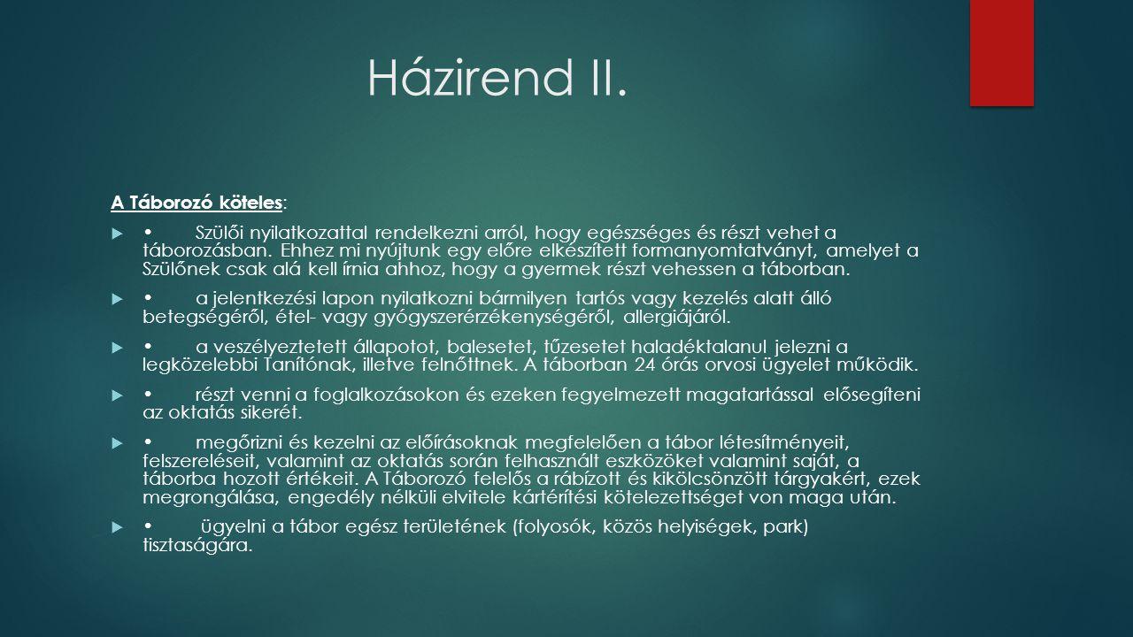 Házirend II.