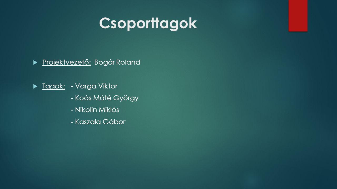 Csoporttagok  Projektvezető: Bogár Roland  Tagok:- Varga Viktor - Koós Máté György - Nikolin Miklós - Kaszala Gábor
