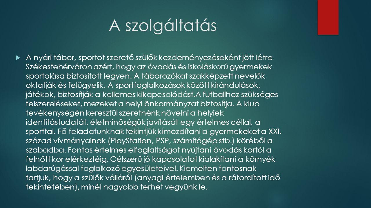 A szolgáltatás  A nyári tábor, sportot szerető szülők kezdeményezéseként jött létre Székesfehérváron azért, hogy az óvodás és iskoláskorú gyermekek sportolása biztosított legyen.