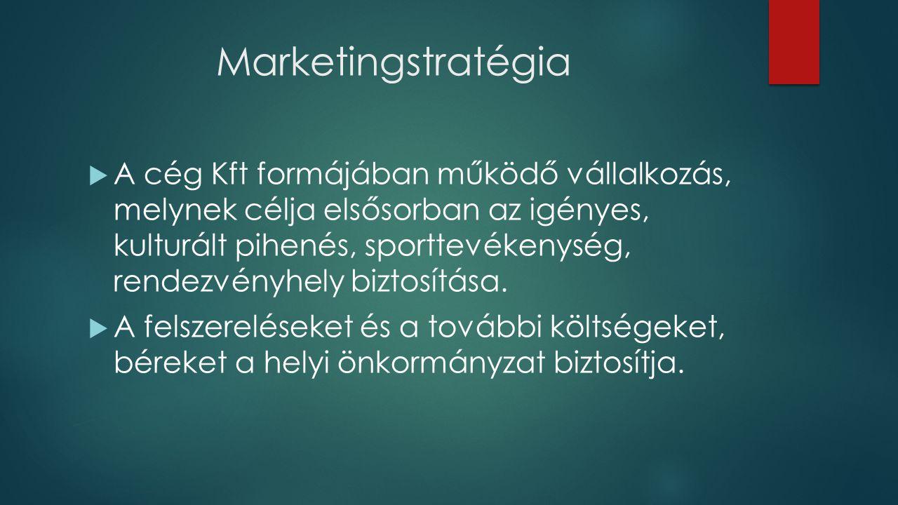 Marketingstratégia  A cég Kft formájában működő vállalkozás, melynek célja elsősorban az igényes, kulturált pihenés, sporttevékenység, rendezvényhely biztosítása.