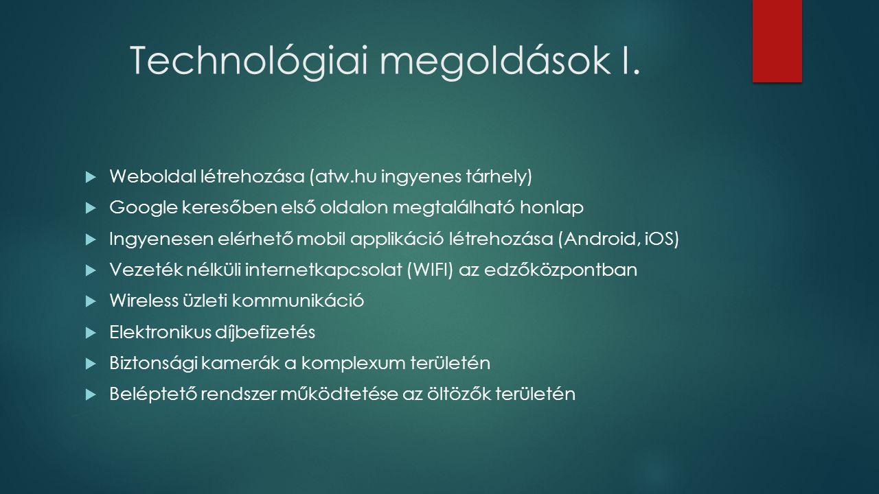 Technológiai megoldások I.  Weboldal létrehozása (atw.hu ingyenes tárhely)  Google keresőben első oldalon megtalálható honlap  Ingyenesen elérhető