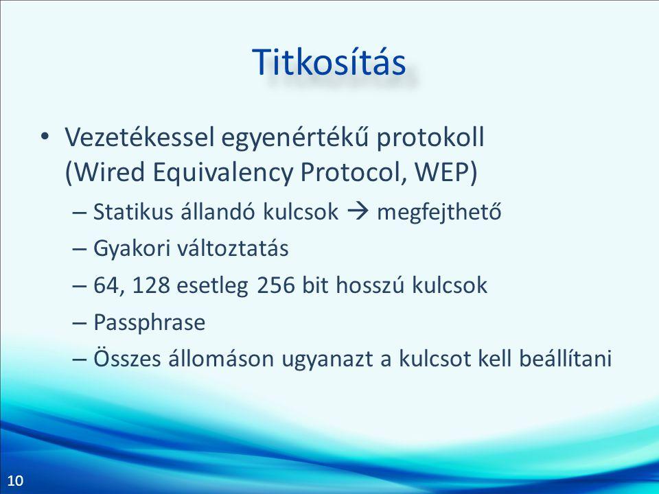 10 Titkosítás • Vezetékessel egyenértékű protokoll (Wired Equivalency Protocol, WEP) – Statikus állandó kulcsok  megfejthető – Gyakori változtatás –