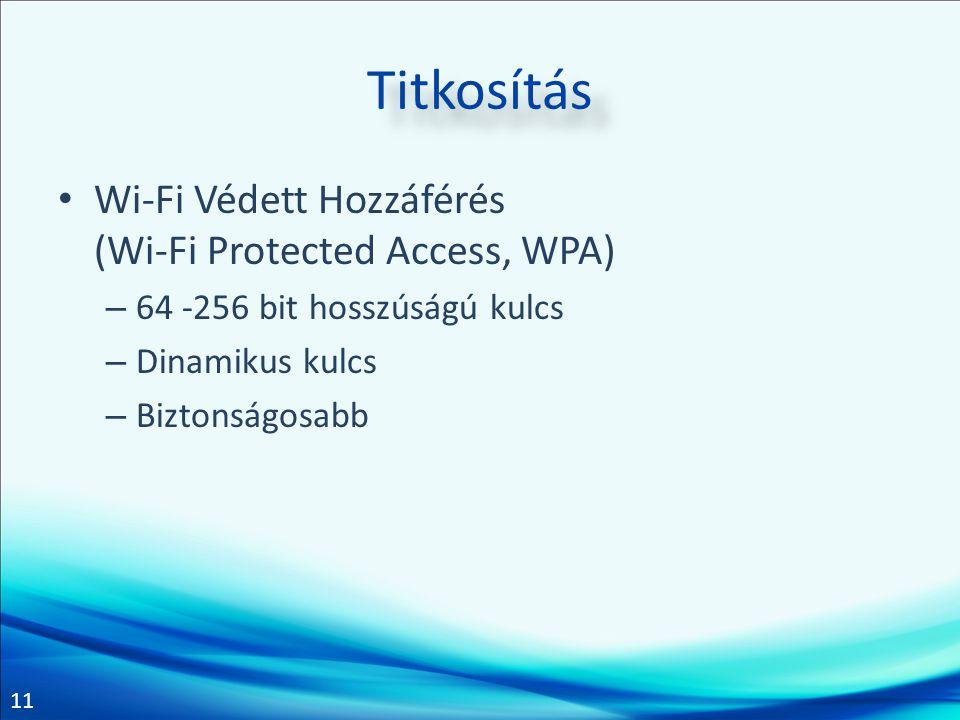 11 Titkosítás • Wi-Fi Védett Hozzáférés (Wi-Fi Protected Access, WPA) – 64 -256 bit hosszúságú kulcs – Dinamikus kulcs – Biztonságosabb