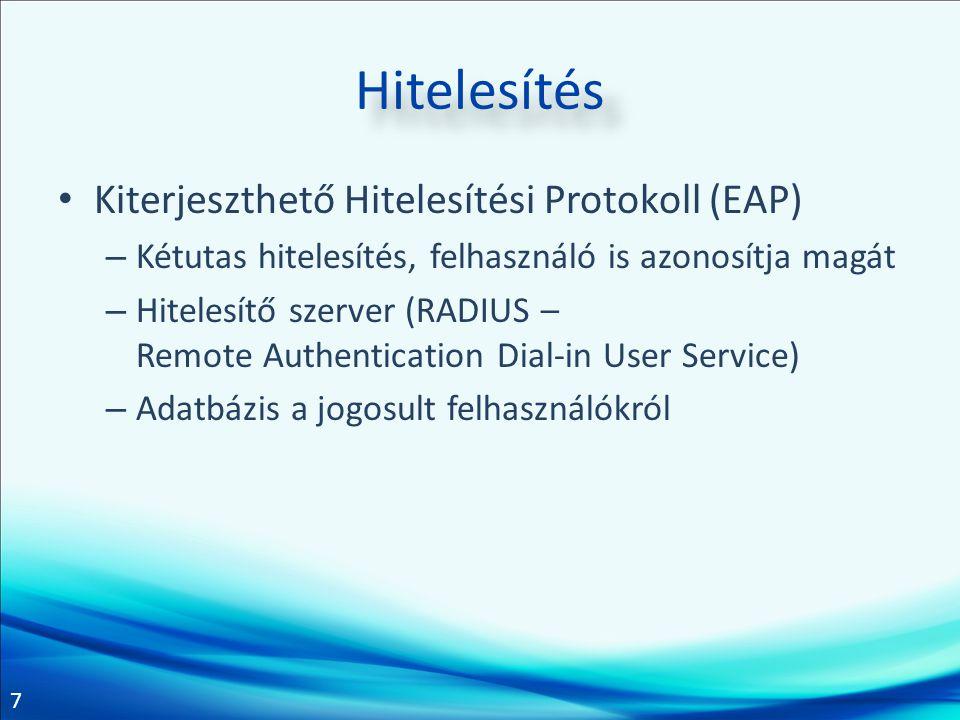 7 Hitelesítés • Kiterjeszthető Hitelesítési Protokoll (EAP) – Kétutas hitelesítés, felhasználó is azonosítja magát – Hitelesítő szerver (RADIUS – Remo