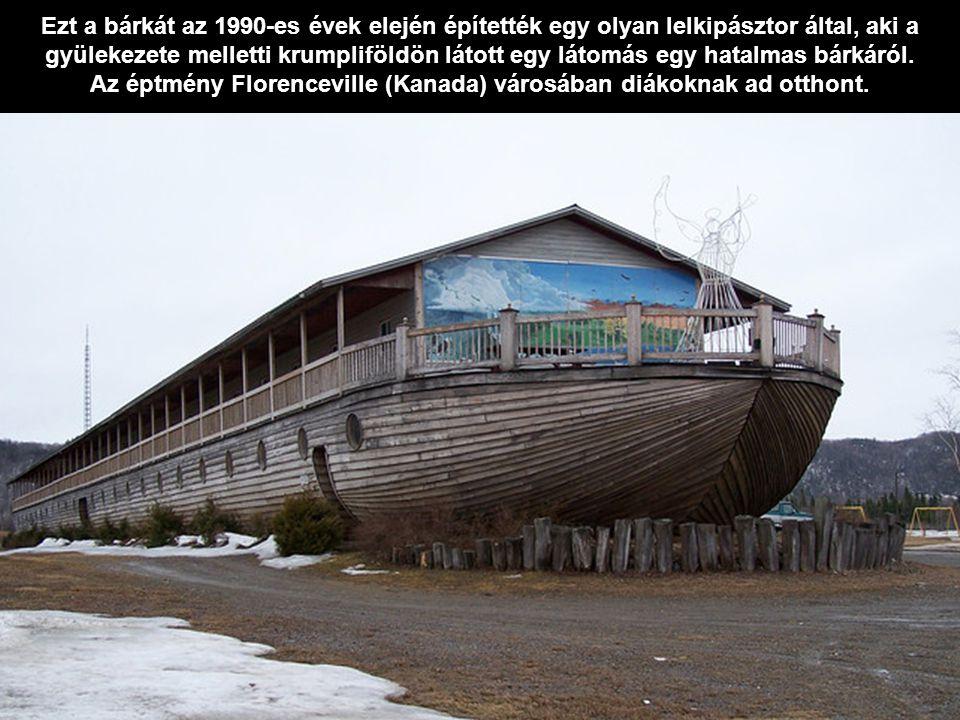 Ezt a bárkát az 1990-es évek elején építették egy olyan lelkipásztor által, aki a gyülekezete melletti krumpliföldön látott egy látomás egy hatalmas b