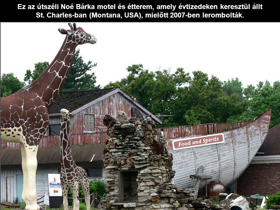 Ez az útszéli Noé Bárka motel és étterem, amely évtizedeken keresztül állt St. Charles-ban (Montana, USA), mielőtt 2007-ben lerombolták.