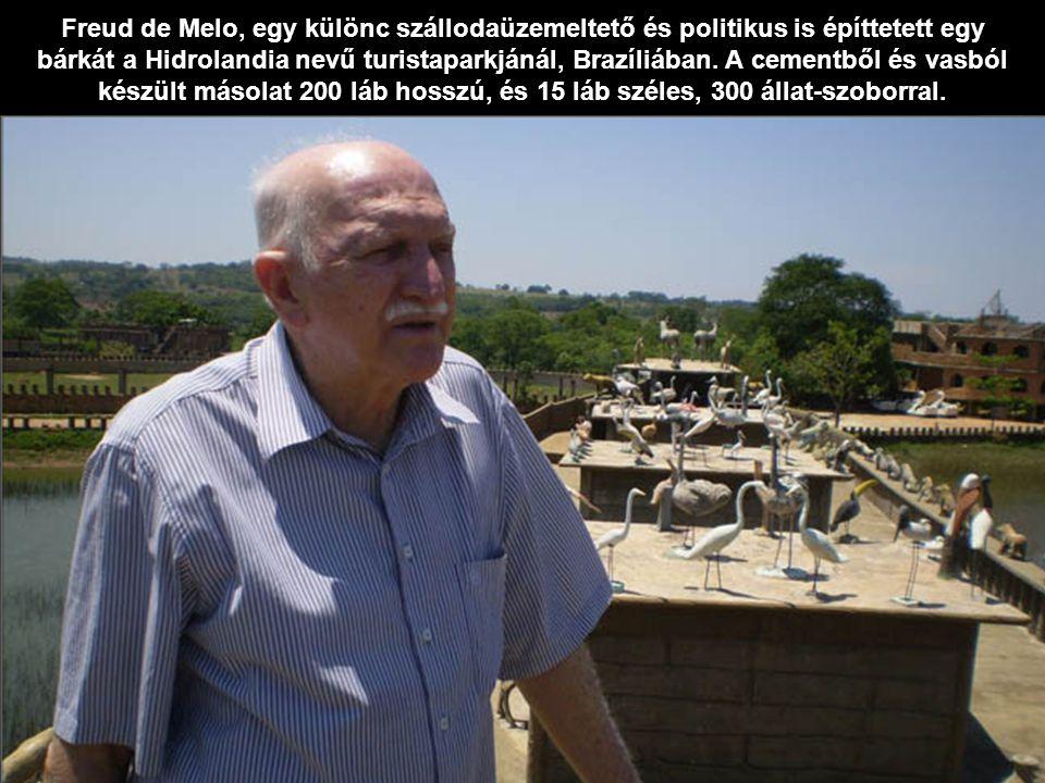 Freud de Melo, egy különc szállodaüzemeltető és politikus is építtetett egy bárkát a Hidrolandia nevű turistaparkjánál, Brazíliában. A cementből és va