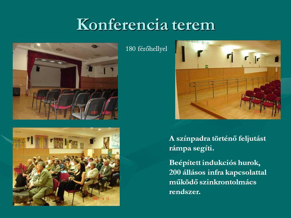 Konferencia terem A színpadra történő feljutást rámpa segíti.