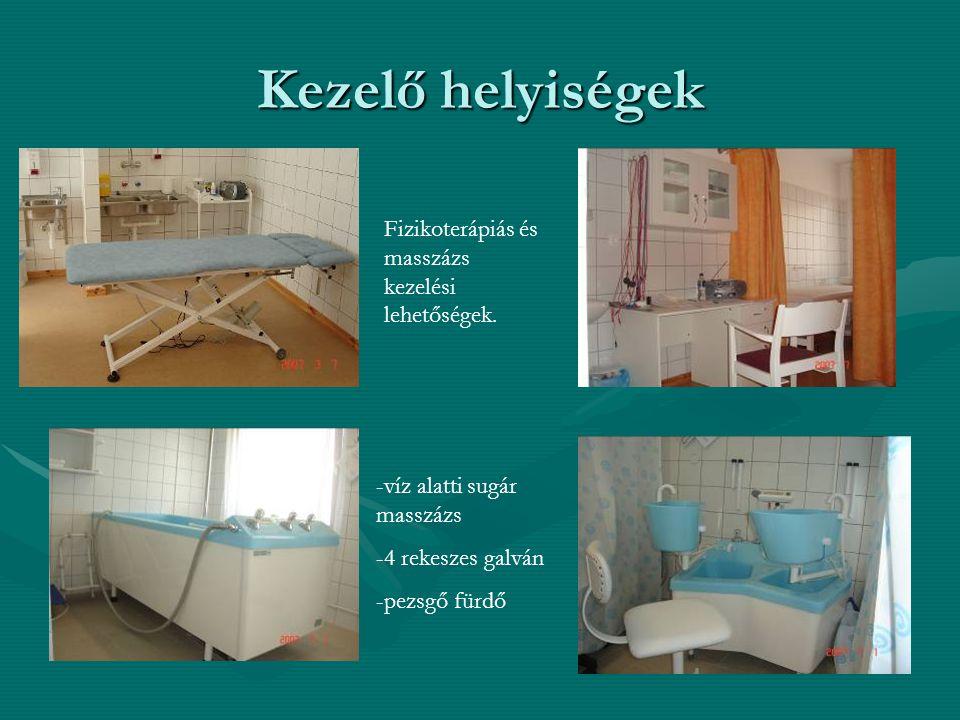 Kezelő helyiségek Fizikoterápiás és masszázs kezelési lehetőségek.