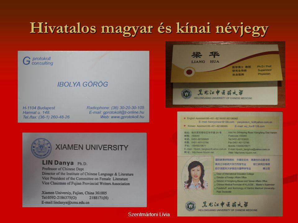 Szentmártoni Lívia Hivatalos magyar és kínai névjegy