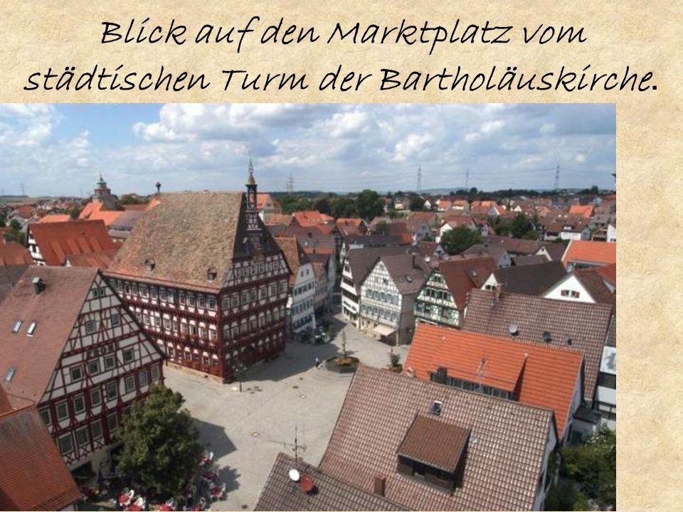 Blick auf den Marktplatz vom städtischen Turm der Bartholäuskirche.
