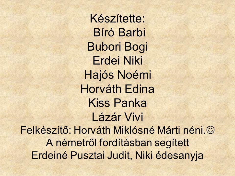 Készítette: Bíró Barbi Bubori Bogi Erdei Niki Hajós Noémi Horváth Edina Kiss Panka Lázár Vivi Felkészítő: Horváth Miklósné Márti néni.