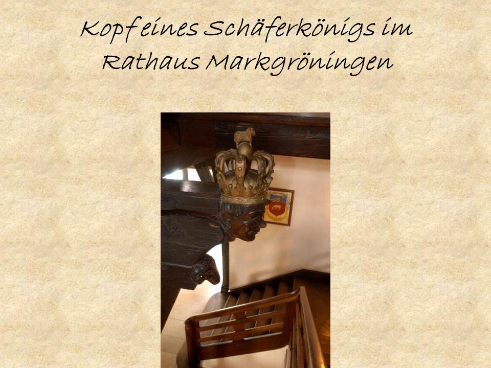 Kopf eines Schäferkönigs im Rathaus Markgröningen