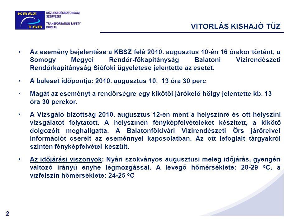 2 VITORLÁS KISHAJÓ TŰZ •Az esemény bejelentése a KBSZ felé 2010. augusztus 10-én 16 órakor történt, a Somogy Megyei Rendőr-főkapitányság Balatoni Vízi
