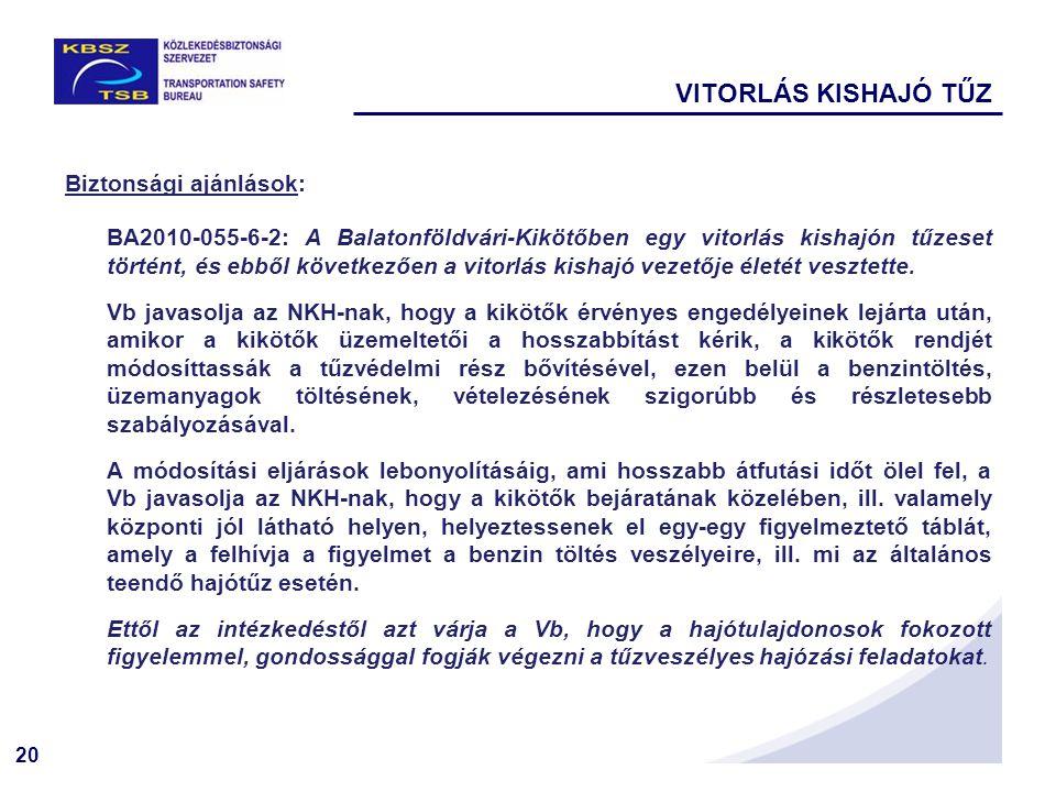 20 Biztonsági ajánlások: BA2010-055-6-2: A Balatonföldvári-Kikötőben egy vitorlás kishajón tűzeset történt, és ebből következően a vitorlás kishajó ve