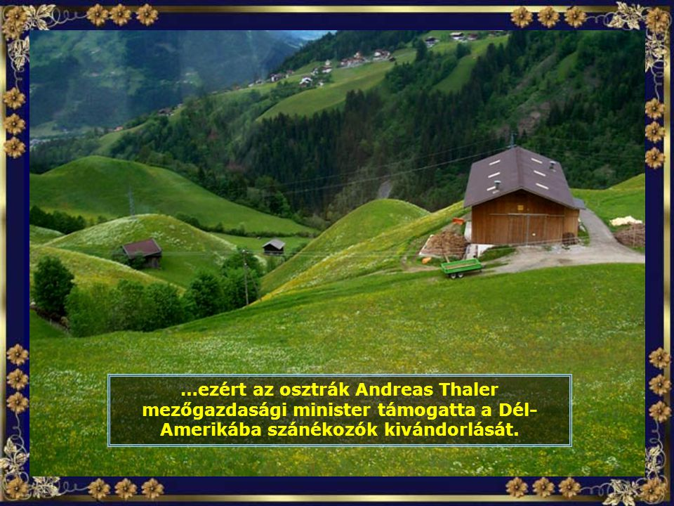 …ezért az osztrák Andreas Thaler mezőgazdasági minister támogatta a Dél- Amerikába szánékozók kivándorlását.