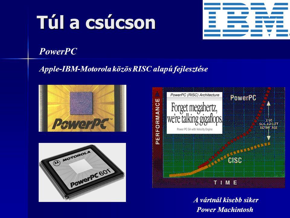 Túl a csúcson PowerPC Apple-IBM-Motorola közös RISC alapú fejlesztése A vártnál kisebb siker Power Machintosh