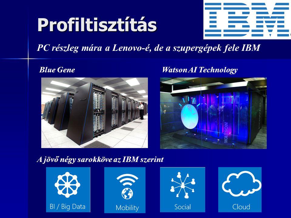 Profiltisztítás PC részleg mára a Lenovo-é, de a szupergépek fele IBM Blue Gene Watson AI Technology A jövő négy sarokköve az IBM szerint